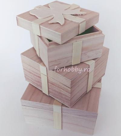 Cutii lemn tip cadou cu fundiță - Diverse mărimi2