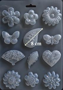 Matrita pentru turnat - Flori si fluturi1