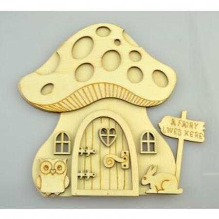 Decorațiune din lemn - Casă ciupercă0