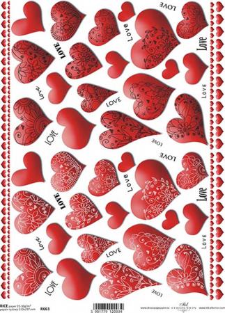 Hârtie de orez A4 - Inimi - R6630
