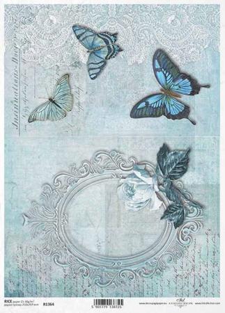 Hârtie de orez A4 - Ramă cu trandafir  - R13640