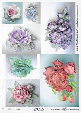 Hârtie de orez A4 - Picturi cu flori - R12390