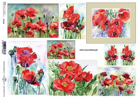 Hârtie de orez A4 - Picturi cu flori de mac - R12161