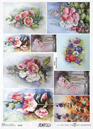 Hârtie de orez A4 - Picturi cu flori - R12340