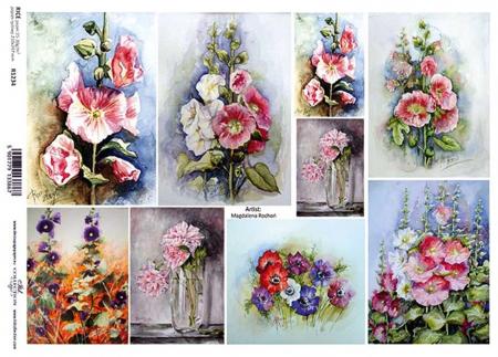 Hârtie de orez A4 - Picturi cu flori - R12341