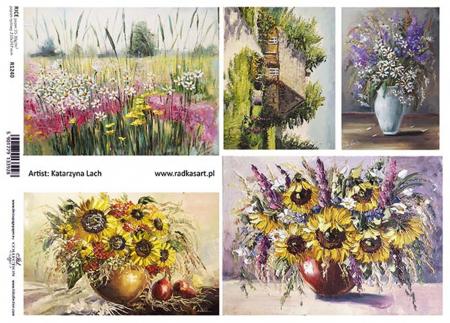 Hârtie de orez A4 - Picturi cu flori de câmp - R12401