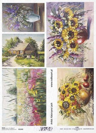 Hârtie de orez A4 - Picturi cu flori de câmp - R12400