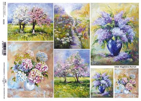 Hârtie de orez A4 - Picturi cu flori - R12331