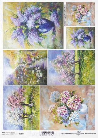 Hârtie de orez A4 - Picturi cu flori - R12330