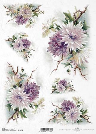 Hartie de orez - A4 - Crizanteme1