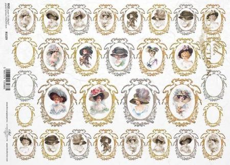 Hartie de orez - A4 - Medalioane cu dame1