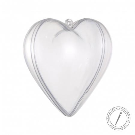 Inimă plastic 2 părți cu disc despărțitor - 10 cm0