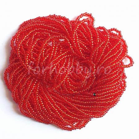 Mărgele Nisip Preciosa Ornela 11/0 19001/97070 - Roșu transparent cu miez argintiu0