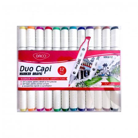 Marker grafic 2 capete 12 culori - Duo Capi0