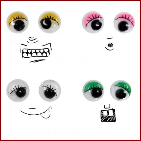 Ochi mobili color cu gene 20 mm2