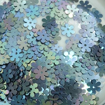 Paiete flori plate 10 mm - Gri hologramă0