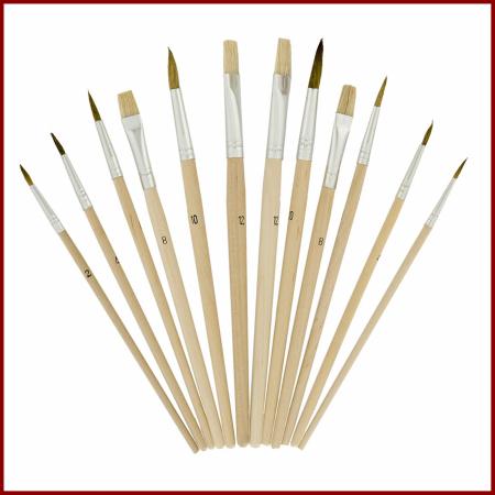 Pensula set 12 pe paleta ovala de lemn1