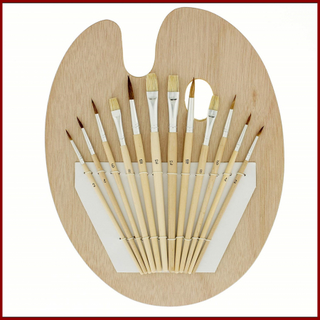 Pensula set 12 pe paleta ovala de lemn0