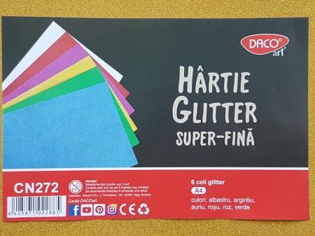 Hartie cu glitter super fina A4 - set 6 culori1