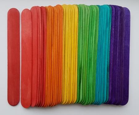 Set spatule lemn colorate 11.2 x 1 x 0.2 cm (48 buc/set)0