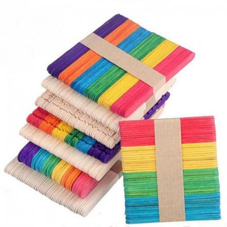 Set spatule lemn colorate 15 x 1.8 x 0.2 cm ( 48 bc/set )1