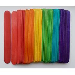 Set spatule lemn colorate 15 x 1.8 x 0.2 cm ( 48 bc/set )0