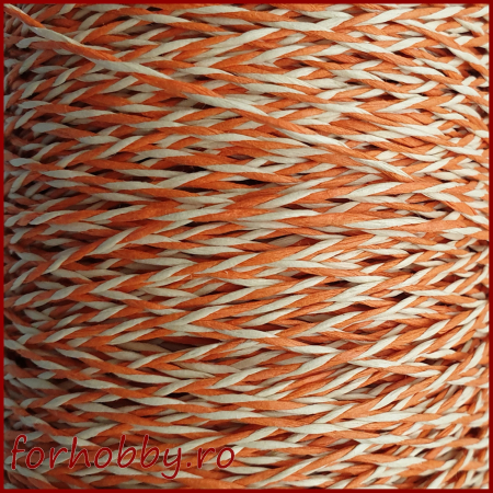 Snur rasucit din hartie - Alb cu portocaliu1