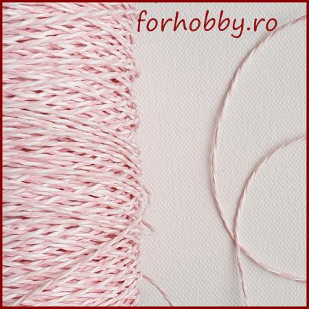 Snur rasucit din hartie - Roz cu alb0
