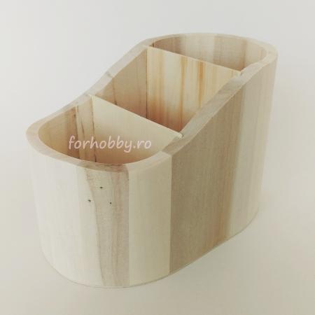 Suport din lemn pentru creioane 17 x 9.7 x 10.3 cm1