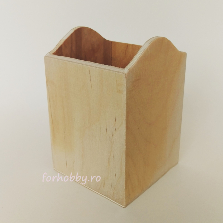 Suport din lemn pentru creioane 8 x 8 x 11.5 cm0
