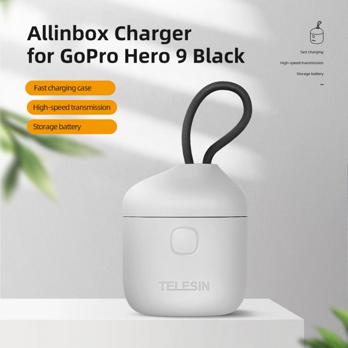 All-in Box Incarcator  & Cititor Card microSD & Cutie de pastrare pentru baterii GoPro Hero9 (fără baterie) - GP-BTR-904 [12]
