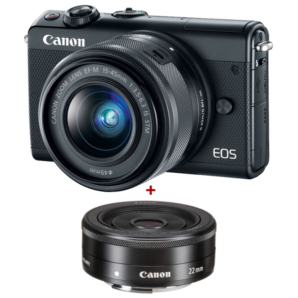 Canon EOS M100 Kit Canon EF-M 15-45mm IS STM + Canon EF-M 22mm , negru 0