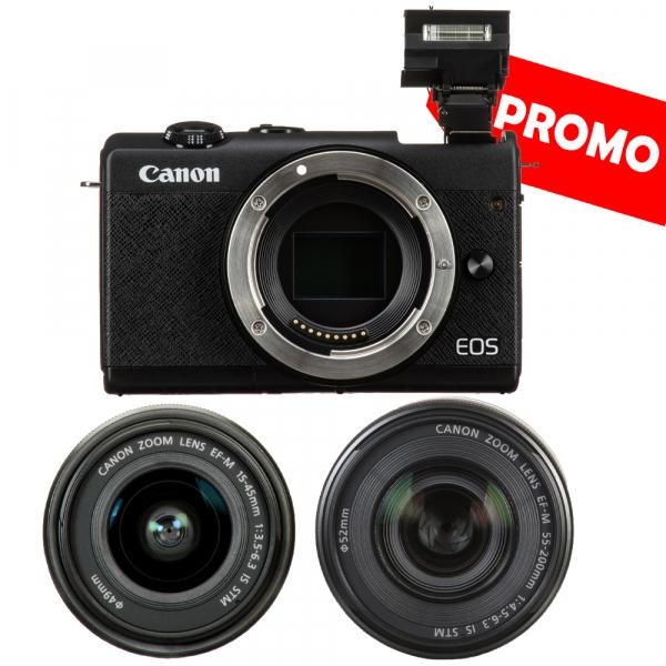 Canon EOS M200 Kit EF-M 15-45mm IS STM - Canon EF-M 55-200mm f4.5-6.3 0