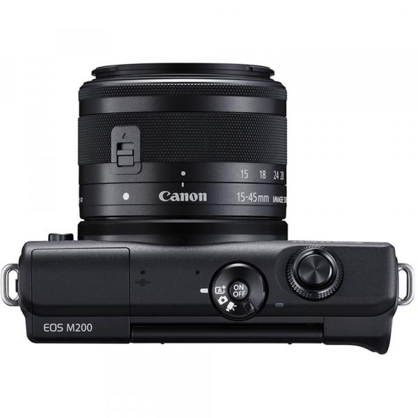 Canon EOS M200 Kit EF-M 15-45mm IS STM + EF-M 55-200mm f/4.5-6.3 IS STM- negru 6