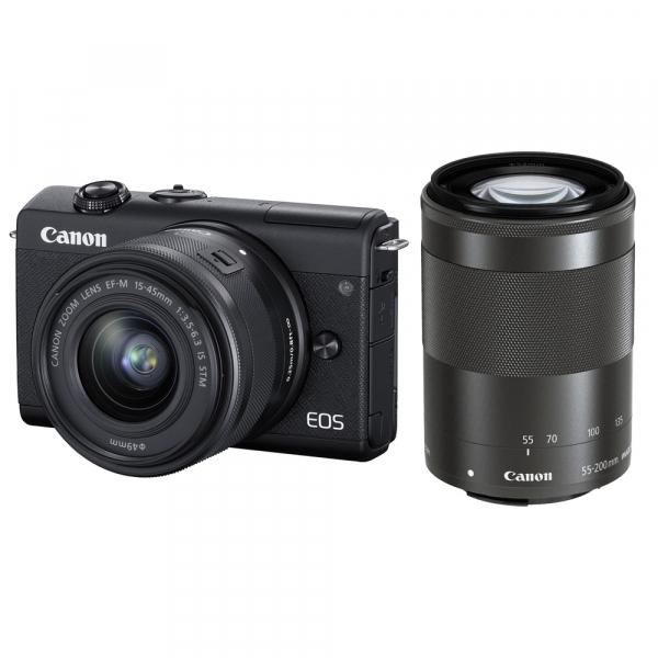 Canon EOS M200 Kit EF-M 15-45mm IS STM + EF-M 55-200mm f/4.5-6.3 IS STM- negru 0