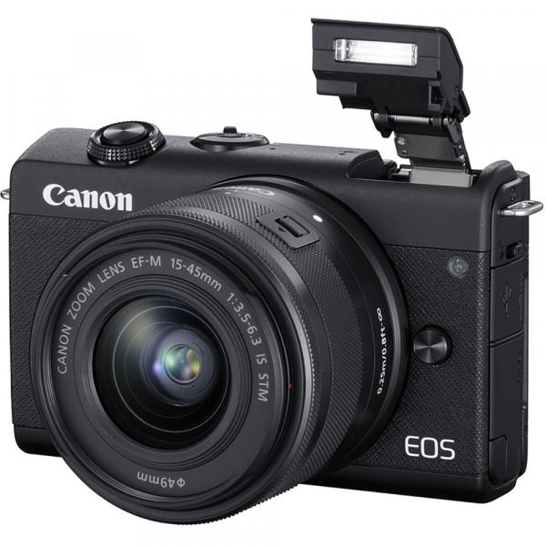 Canon EOS M200 Kit EF-M 15-45mm IS STM + EF-M 55-200mm f/4.5-6.3 IS STM- negru 7