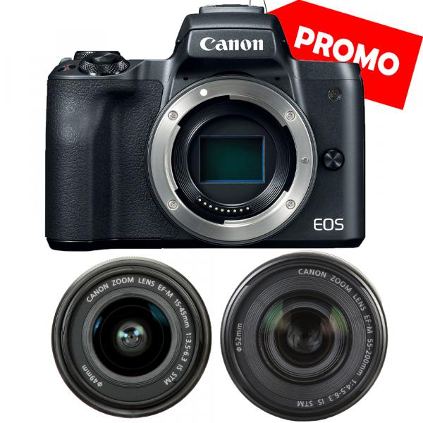 Canon EOS M50 + Canon 15-45mm IS negru EF-M 55-200mm f4.5-6.3 IS STM 0