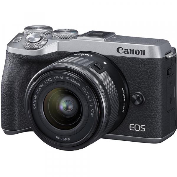 Canon EOS M6 Mark II Kit EF-M 15-45mm IS STM + vizor EVF-DC2- argintiu 1