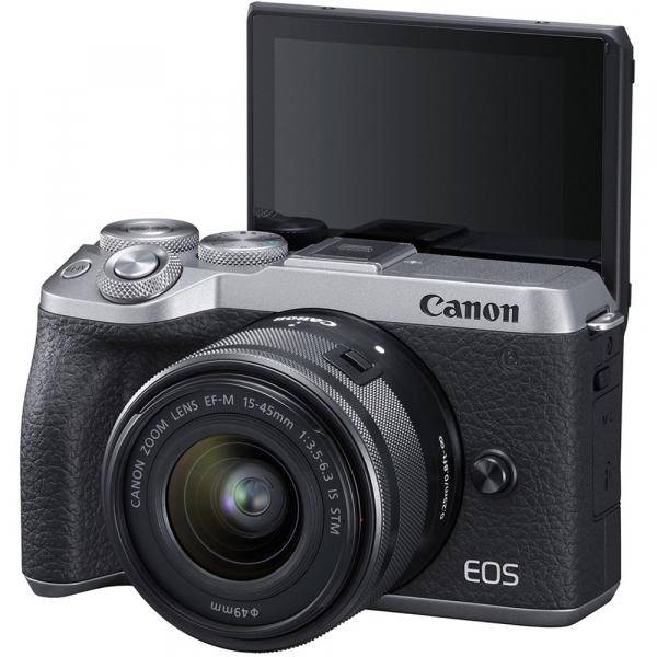 Canon EOS M6 Mark II Kit EF-M 15-45mm IS STM + vizor EVF-DC2- argintiu 2