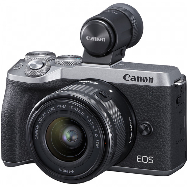Canon EOS M6 Mark II Kit EF-M 15-45mm IS STM + vizor EVF-DC2- argintiu 0