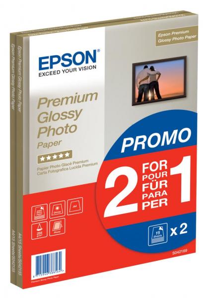 Epson hartie foto lucioasa A4 ( premium glossy ), 255g/mp, 2x15 coli, ( S042169) 0