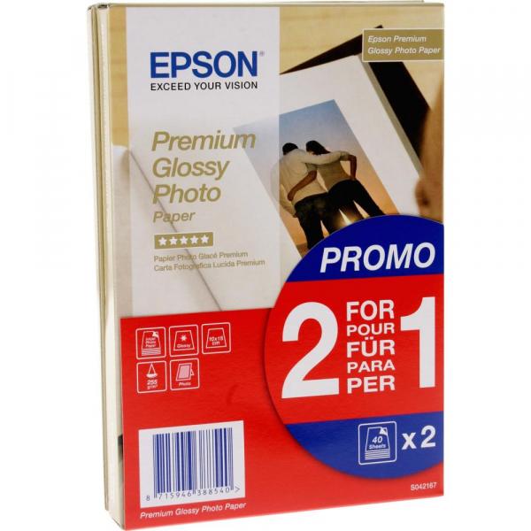Epson Premium Glossy Hartie foto , 10 x 15 cm, 255g/m², 2 x 40 coli (C13 S042167) 0