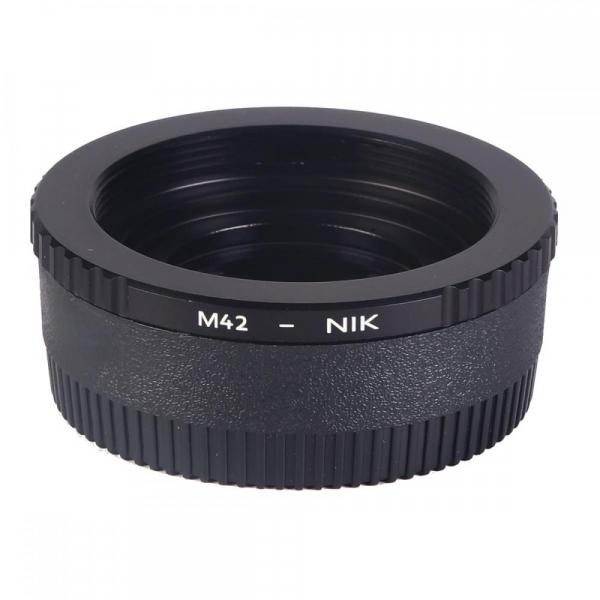 FIKAZ , adaptor cu lentila de corectie de la obiective montura M42 la body montura Nikon F 1