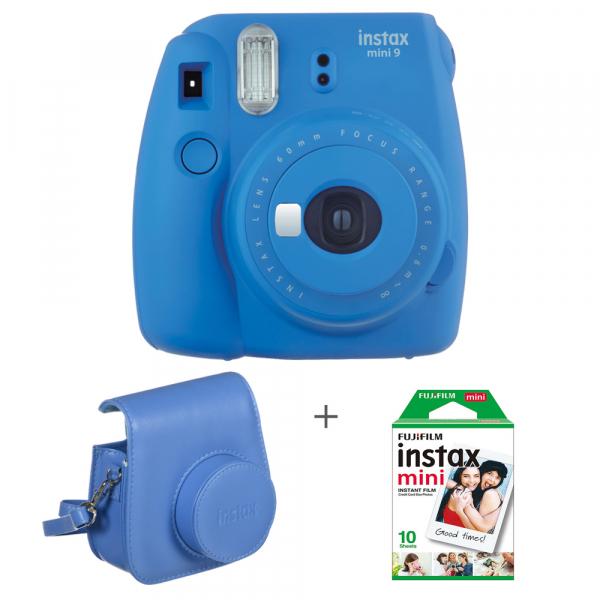 Fujifilm Instax Mini 9 - Aparat Foto Instant Albastru (Cobalt Blue) + Husa + Film 10 buc 0
