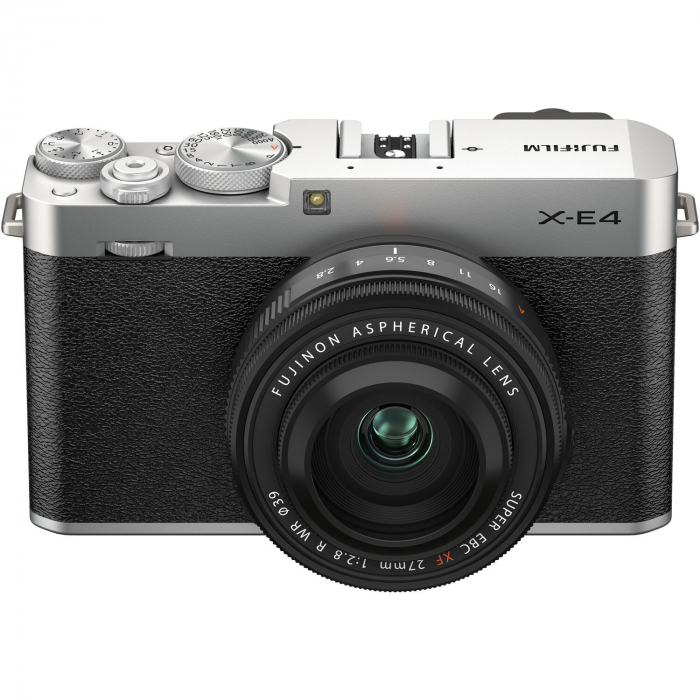 Fujifilm X-E4 , Mirrorless 26MP, 4K body - argintiu + XF 27mm F 2.8 R WR 5