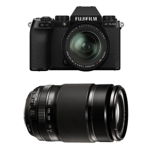 FUJIFILM X-S10 Mirrorless Digital Camera Kit cu Obiectiv XF 18-55mm Negru + Fujifilm 55-200mm F3.5-4.8 R LM OIS XF 0