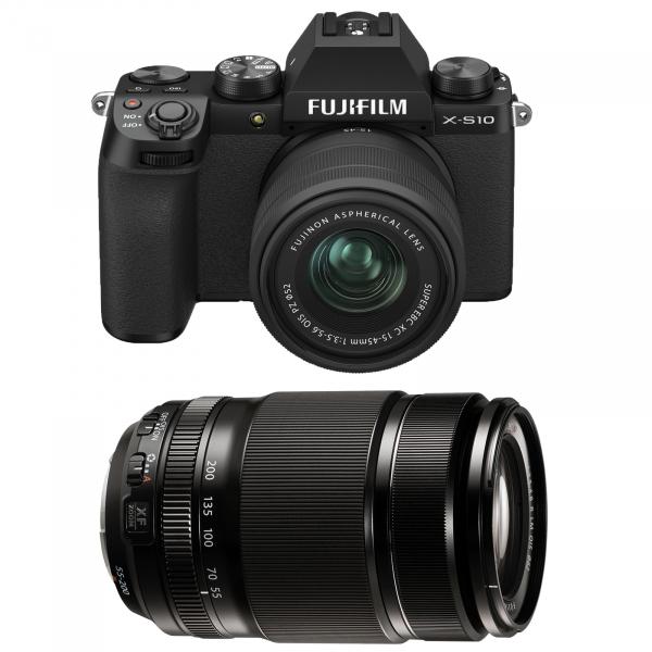 FUJIFILM X-S10 Mirrorless Kit cu XC 15-45mm Negru + Fujifilm 55-200mm F3.5-4.8 R LM OIS XF [0]