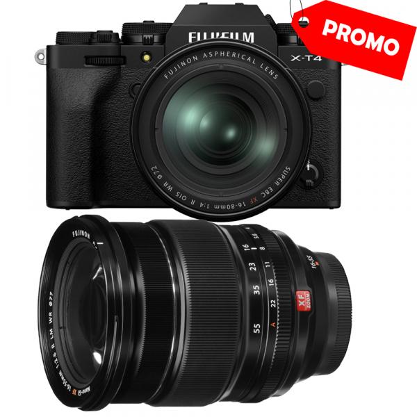 Fujifilm X-T4 Aparat Foto Mirrorless 26.1Mpx 4K/60fps X-Trans CMOS 4 KIT  XF 16-80mm f/4 R OIS WR (black) si XF 16-55mm f/2.8 R LM WR 0