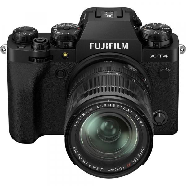 Fujifilm X-T4 Aparat Foto Mirrorless 26.1Mpx 4K/60fps X-Trans CMOS 4K KIT XF 18-55mm f/2.8-4 R LM OIS (black) si XF 16-55mm f/2.8 R LM WR 9