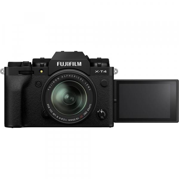 Fujifilm X-T4 Aparat Foto Mirrorless 26.1Mpx 4K/60fps X-Trans CMOS 4K KIT XF 18-55mm f/2.8-4 R LM OIS (black) si XF 16-55mm f/2.8 R LM WR 5